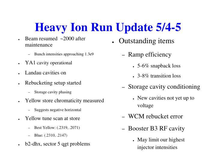 Heavy Ion Run Update 5/4-5