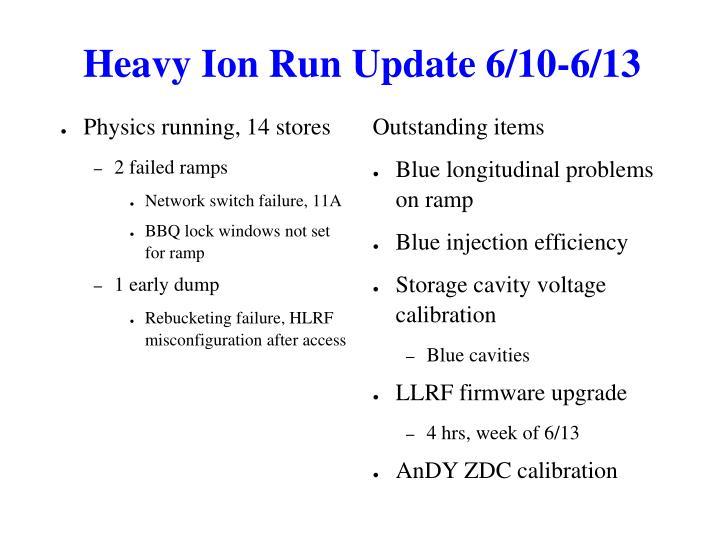 Heavy Ion Run Update 6/10-6/13