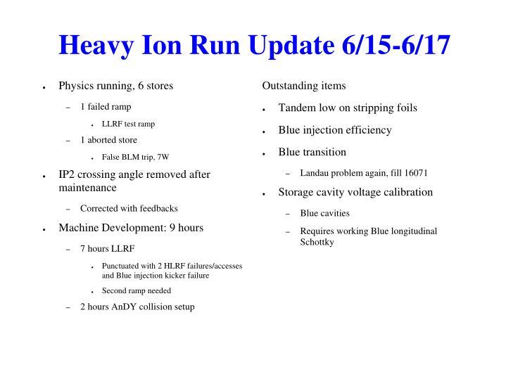 Heavy Ion Run Update 6/15-6/17
