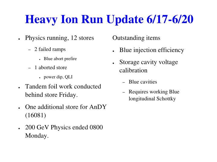 Heavy Ion Run Update 6/17-6/20