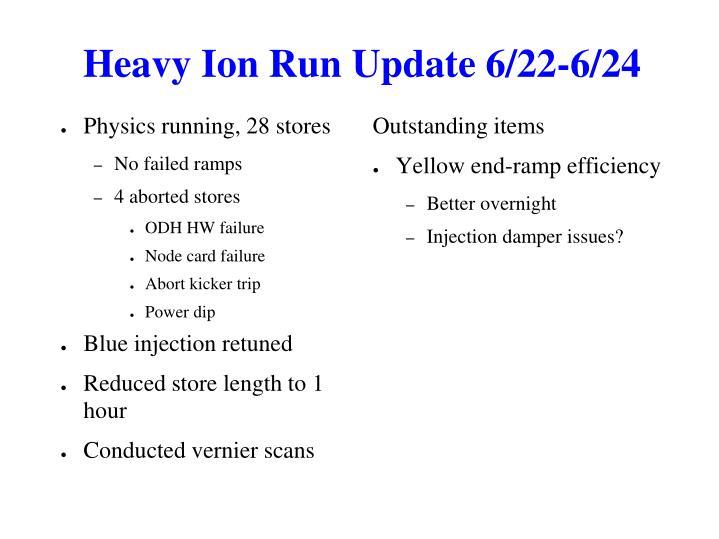 Heavy Ion Run Update 6/22-6/24