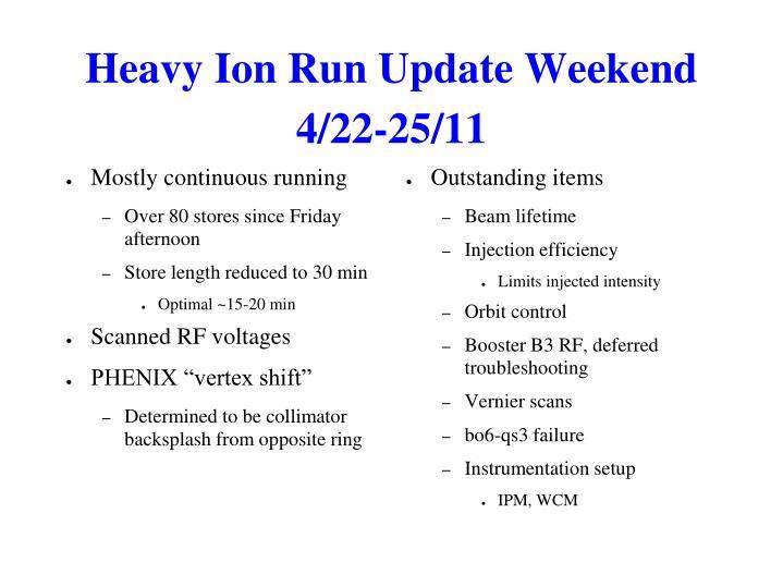 Heavy Ion Run Update Weekend 4/22-25/11