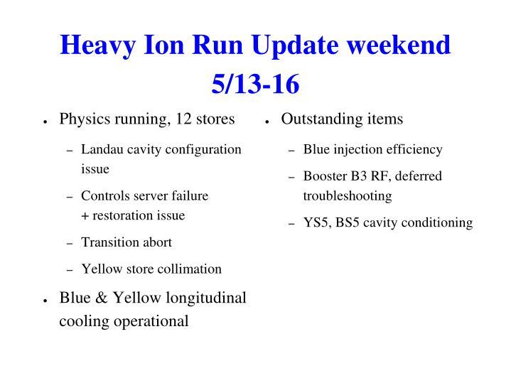 Heavy Ion Run Update weekend 5/13-16