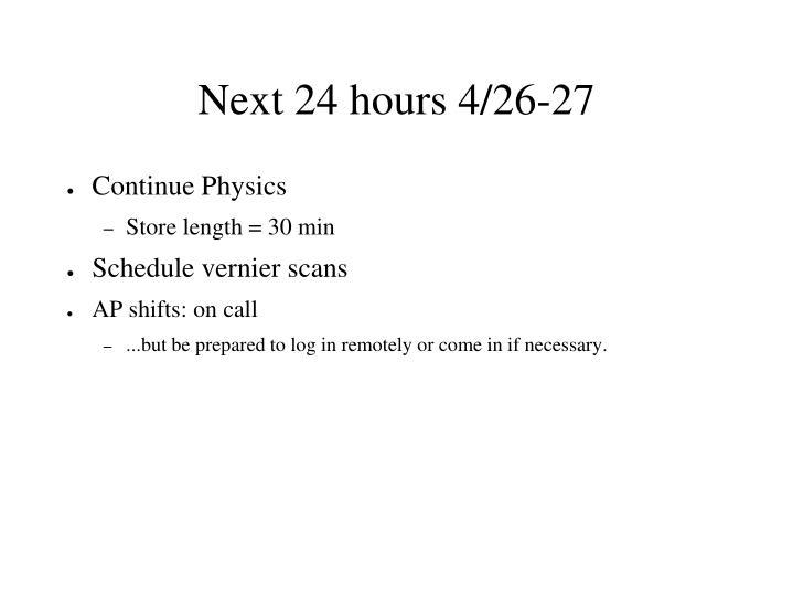 Next 24 hours 4/26-27