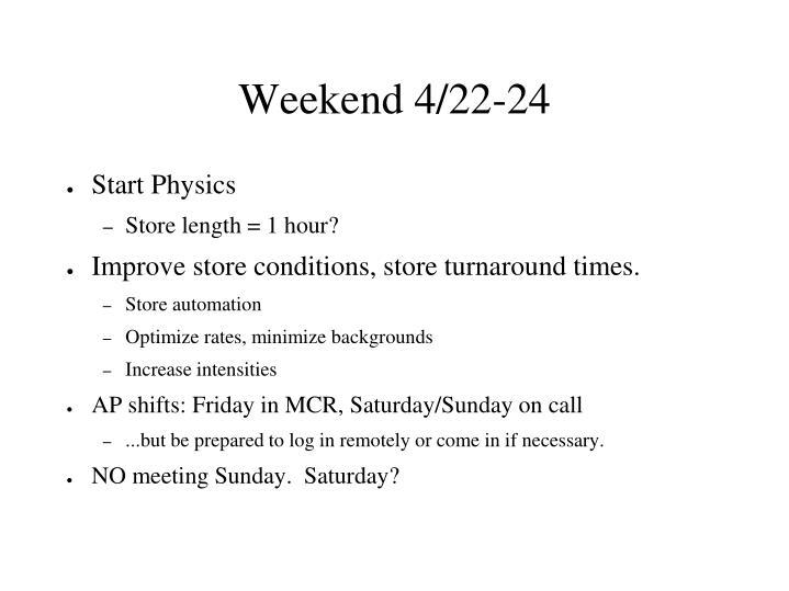 Weekend 4/22-24