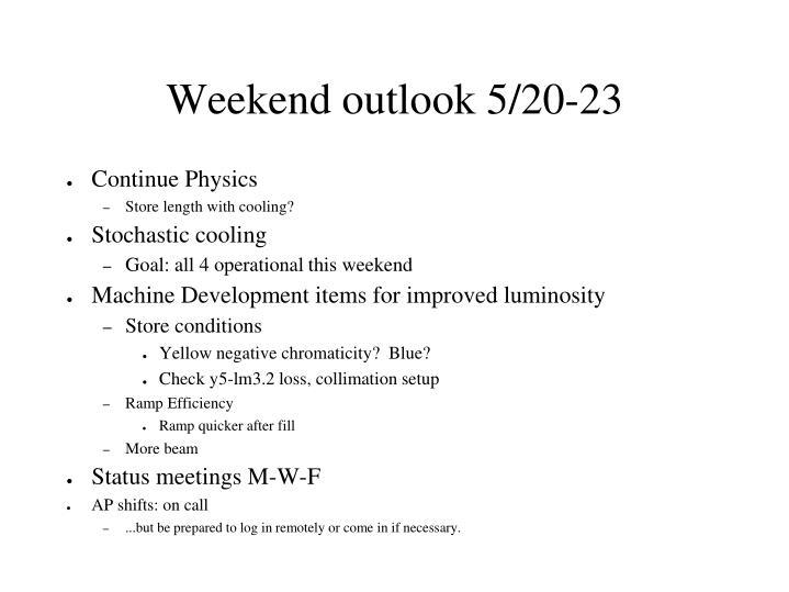 Weekend outlook 5/20-23