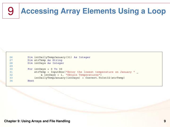 Accessing Array Elements Using a Loop
