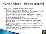 career advice how to succeed