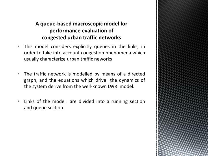 A queue-based macroscopic model for performance evaluation of