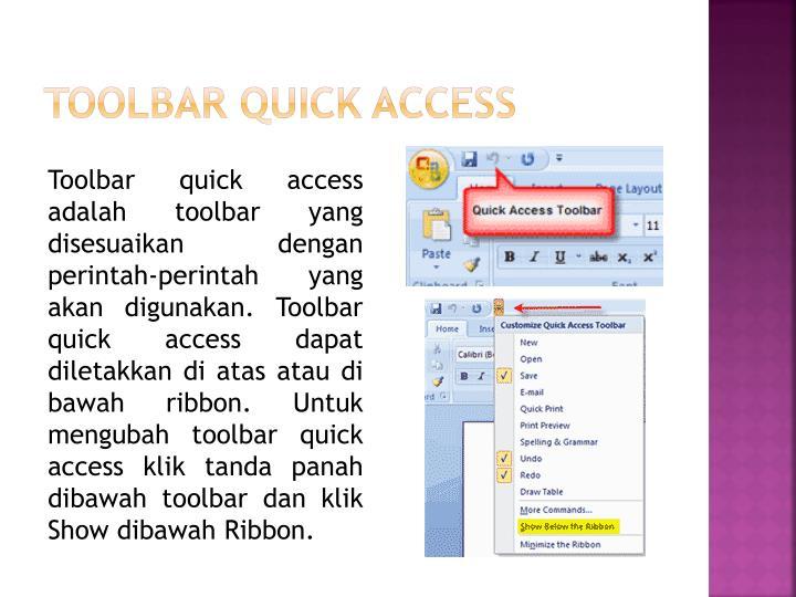 Toolbar Quick Access