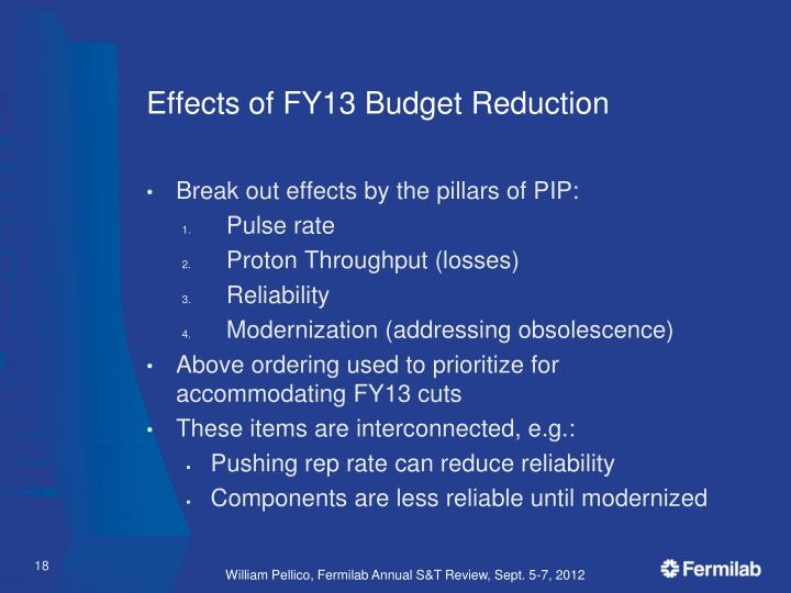 Effects of FY13 Budget Reduction