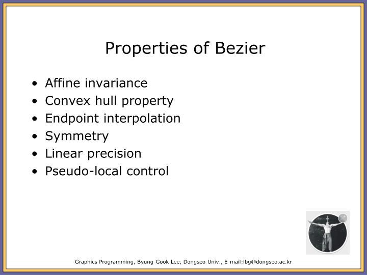 Properties of Bezier