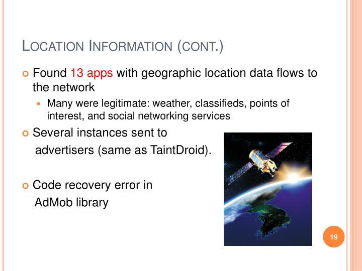 Location Information (cont.)