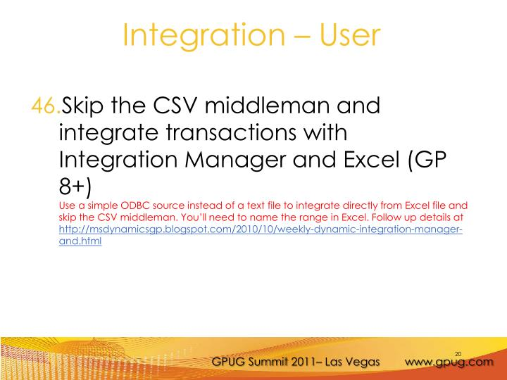 Skip the CSV middleman and integrate transactions with Integration Manager and Excel (GP 8+)