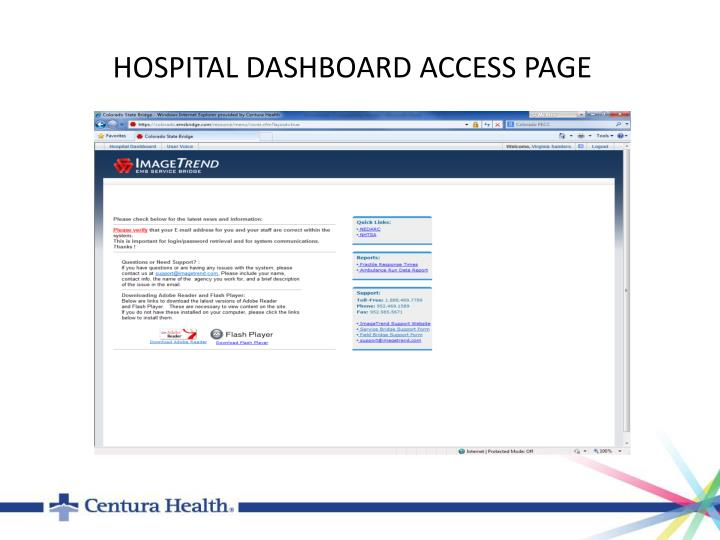HOSPITAL DASHBOARD ACCESS PAGE