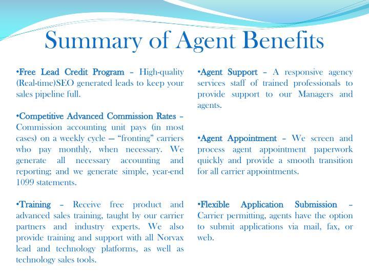 Summary of Agent Benefits