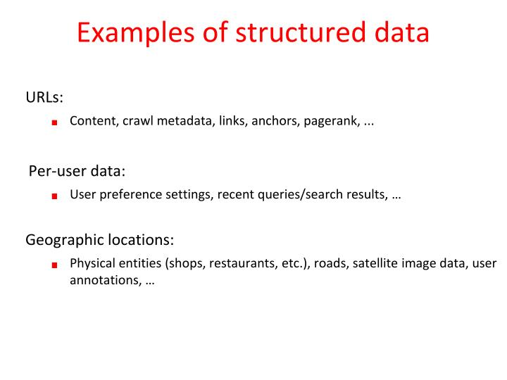 Examples of structured data