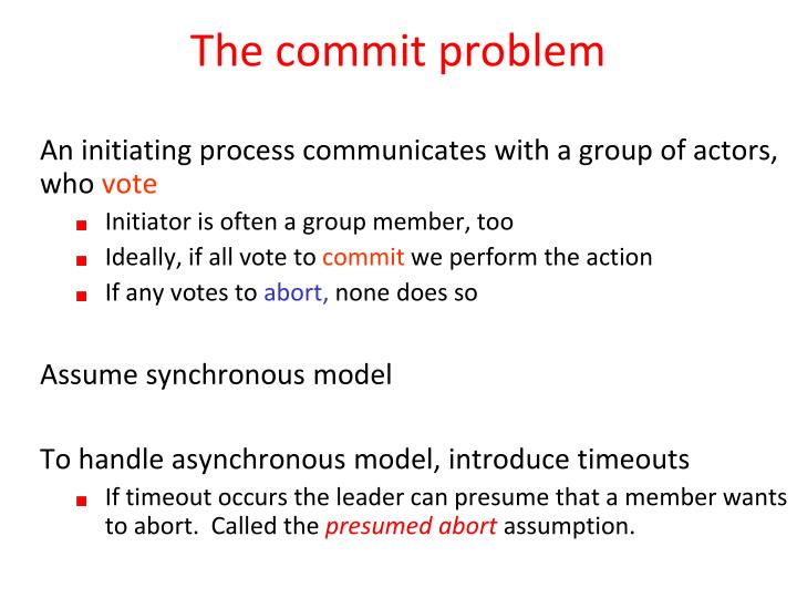 The commit problem