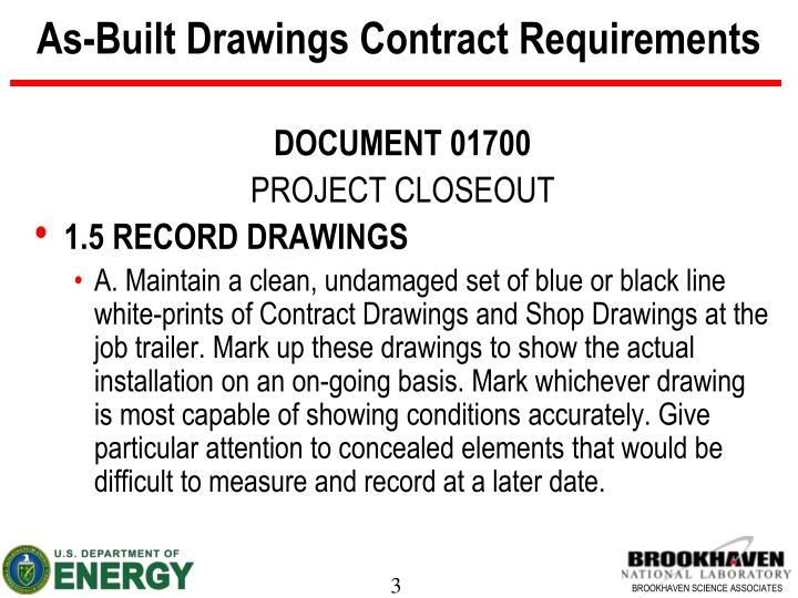 As built drawings contract requirements