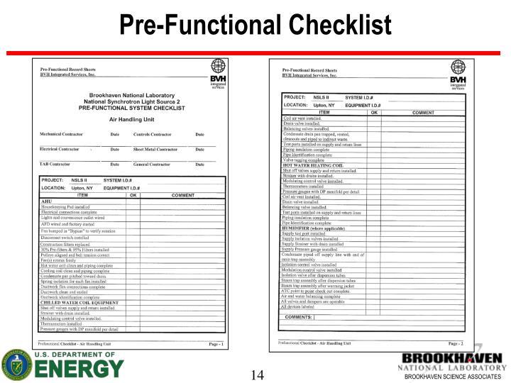 Pre-Functional Checklist