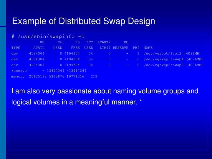 Example of Distributed Swap Design
