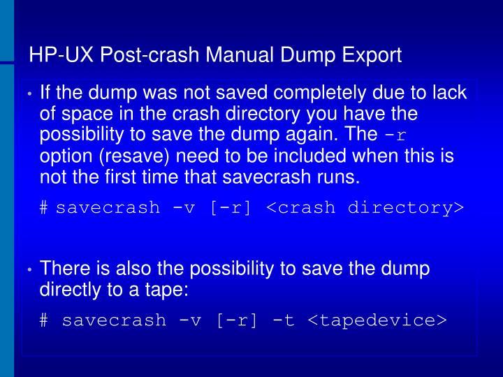 HP-UX Post-crash Manual Dump Export