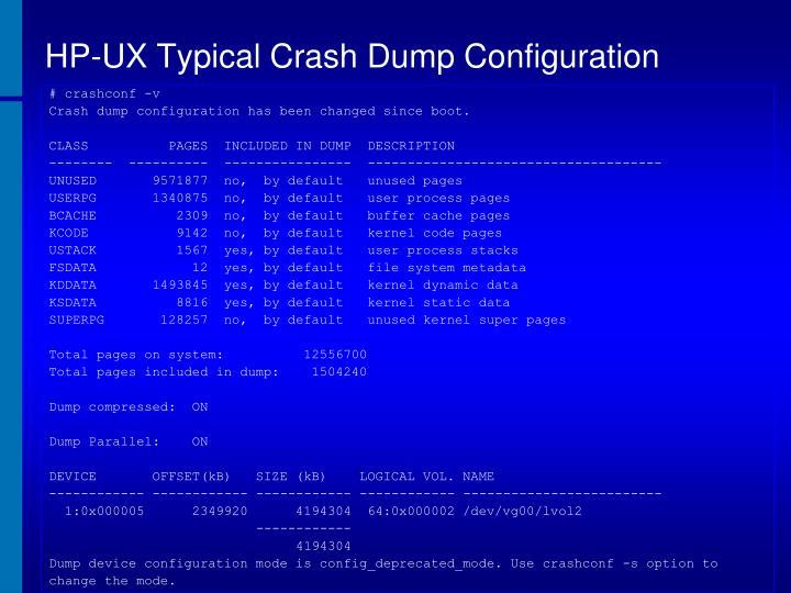 HP-UX Typical Crash Dump Configuration