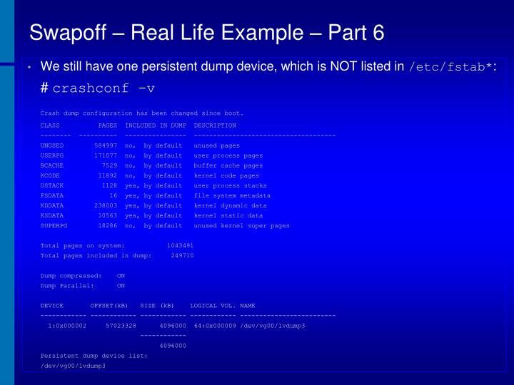 Swapoff – Real Life Example – Part 6