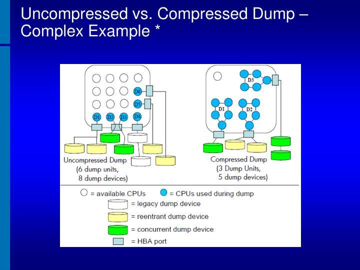 Uncompressed vs. Compressed Dump – Complex Example *