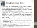 activities since boise