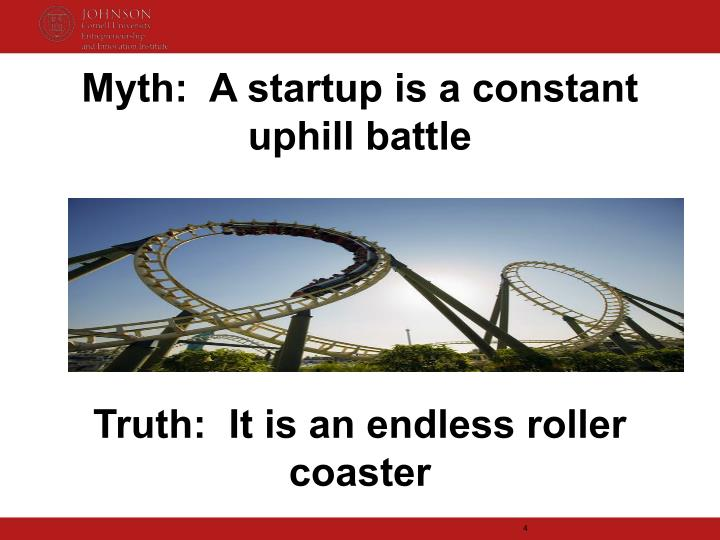 Myth:  A startup is a constant uphill battle