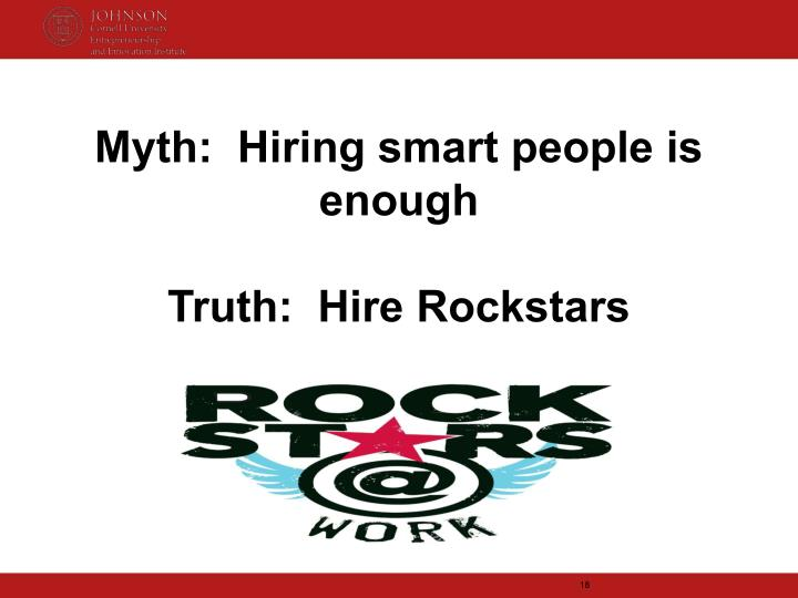 Myth:  Hiring smart people is enough