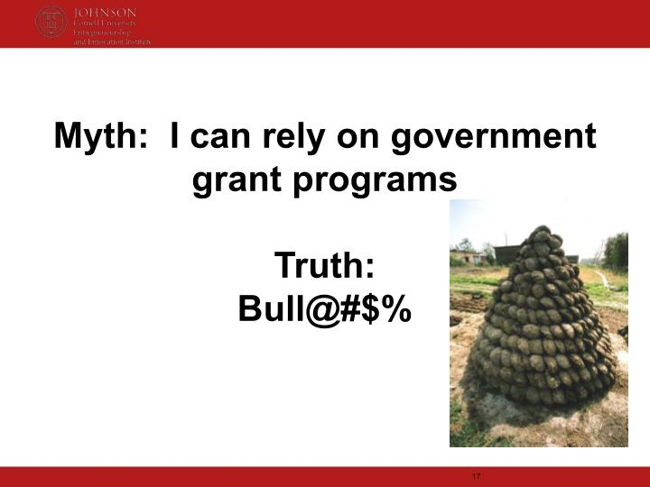 Myth:  I can rely on government grant programs