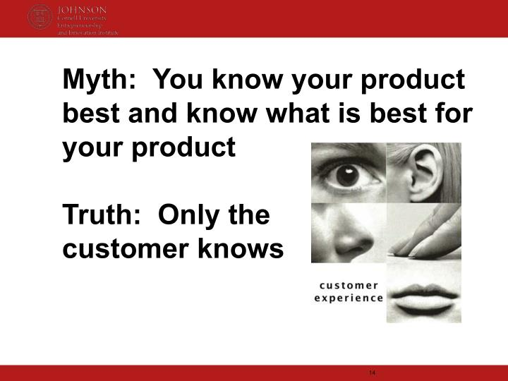 Myth:  You know