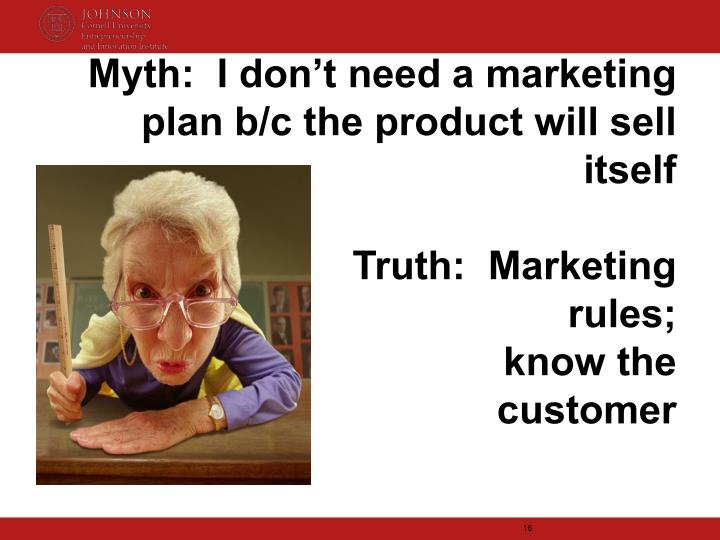 Myth:  I don't need a marketing plan b/c the product will sell itself