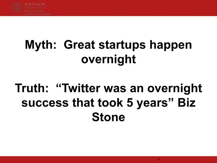 Myth:  Great startups happen overnight