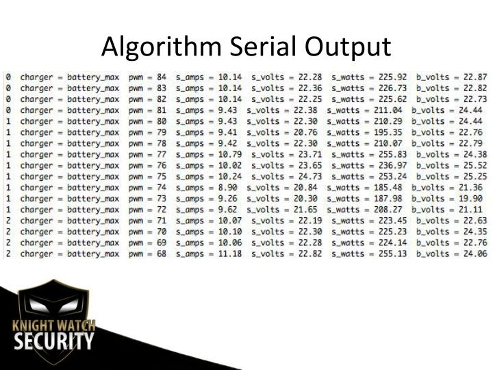 Algorithm Serial Output