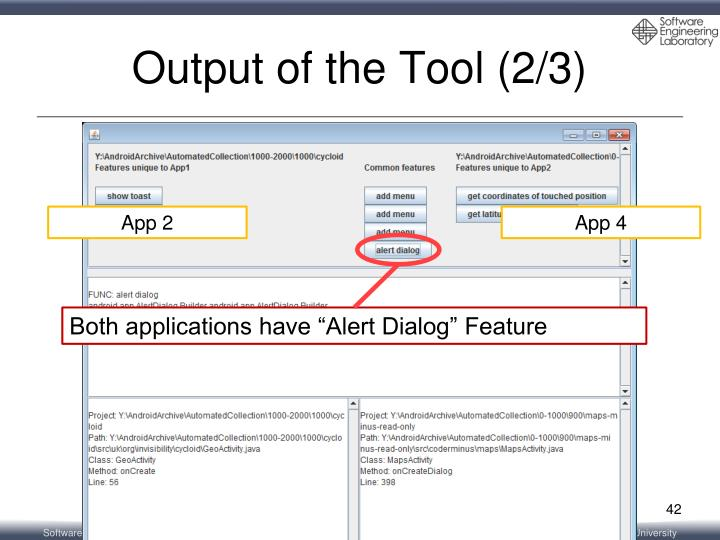 Output of the Tool (2/3)