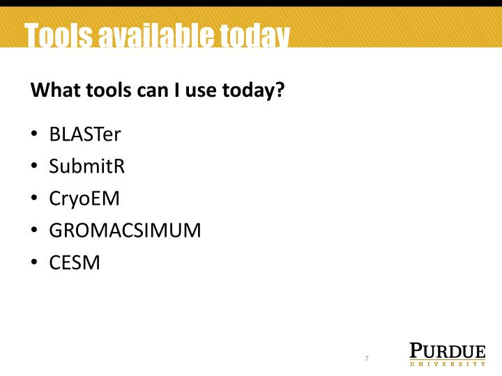 Tools available today