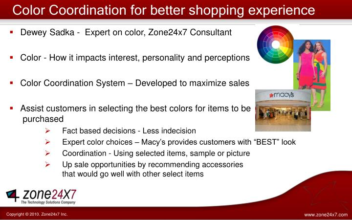 Color Coordination for better shopping experience