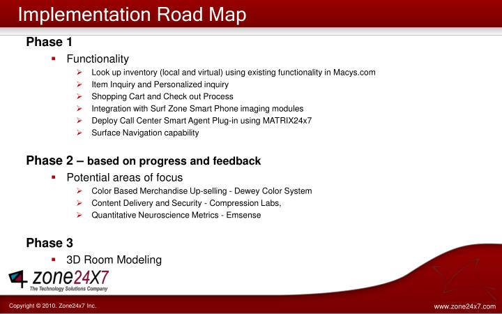 Implementation Road Map