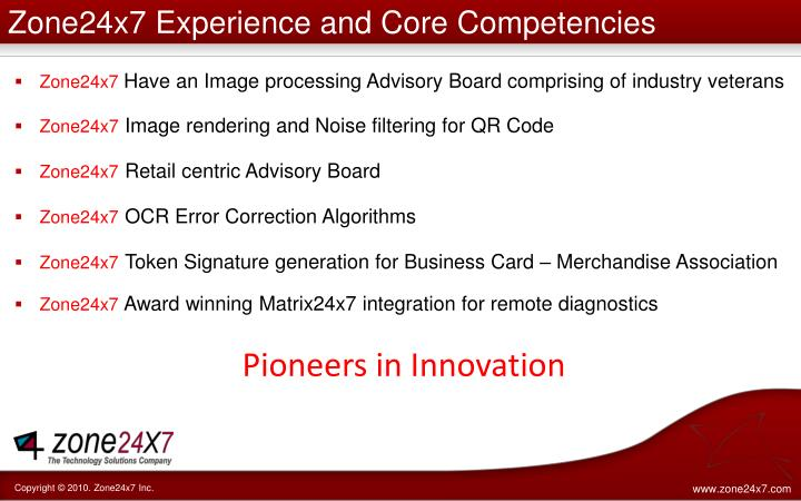 Zone24x7 Experience and Core Competencies