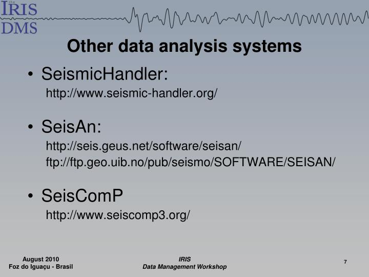 Other data analysis systems