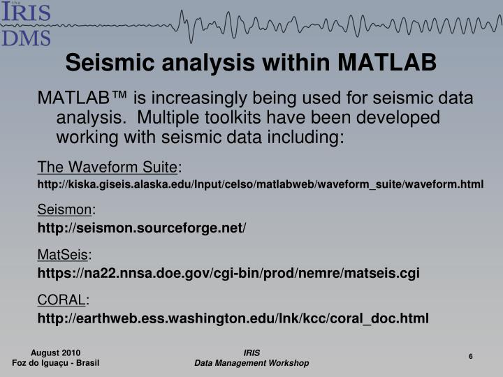 Seismic analysis within MATLAB