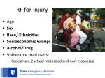 rf for injury