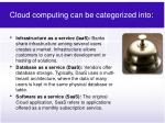 cloud computing can be categorized into