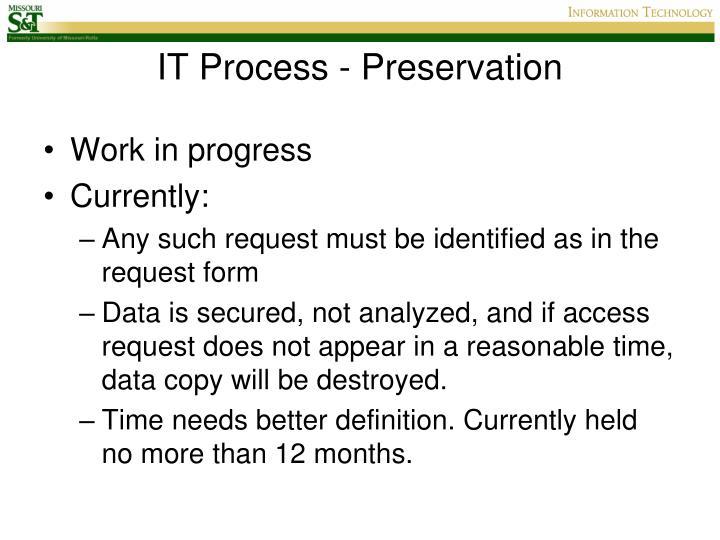 IT Process - Preservation