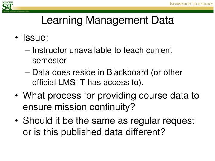 Learning Management Data