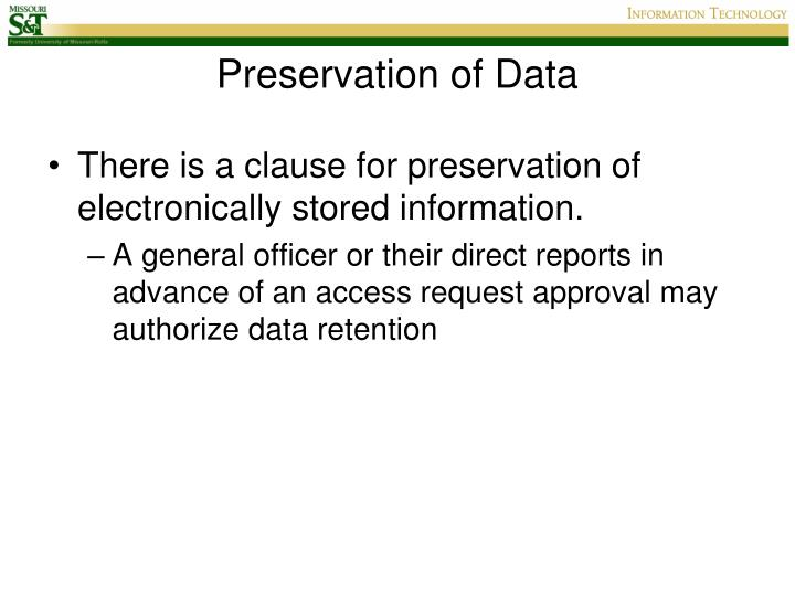Preservation of Data
