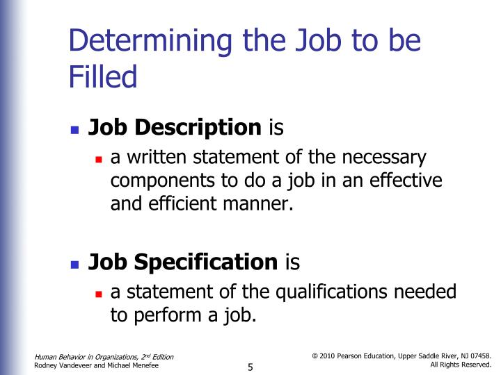 Determining the Job to be Filled